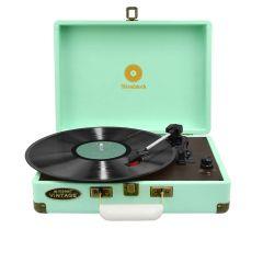mbeat Woodstock Retro Turntable Record Player - Tiffany Blue